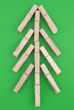 Pine tree made of wooden clothes pegs Stock Photo