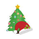 Pine tree of Merry Christmas design. Pine tree and hat icon. Merry Christmas season decoration figure theme.  design. Vector illustration Stock Photo