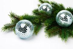 Pine tree and mirrored balls Royalty Free Stock Photo