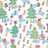 Pine tree music bird merry seamless pattern vector illustration