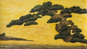 Pine tree, painting Stock Photo