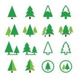 Pine tree, park vector green icons set Stock Photos