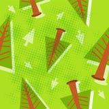 Pine tree pattern. Seamless pine tree pattern vector illustration retro style Stock Photo
