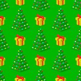 Pine tree pixel green vector christmas holiday needle leaf trunk fir plant natural seamless pattern illustration. Pine tree pixel green vector christmas holiday Royalty Free Stock Photos