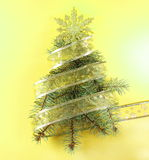 Pine Tree Shape with Golden Ribbon Royalty Free Stock Images