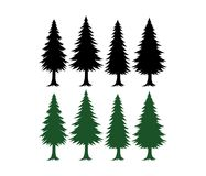 Pine tree silhouette set vector template green and black. Elements stock illustration