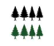 Pine tree silhouette set vector template green and black. Elements vector illustration