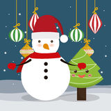 Pine tree and snowman cartoon of Chistmas design Royalty Free Stock Photo