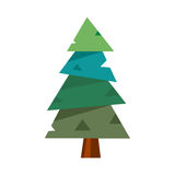 Pine tree vector illustration. Isolated pine tree cartoon flat icon on white background. Wood forest environment botanical needle garden plant. Natural stem Royalty Free Stock Photos