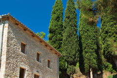 Pine Trees. And rustic stone building in Greece stock photography