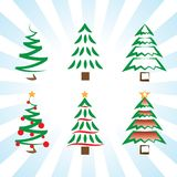 Pine trees and Christmas trees simple vector icon art variations. With blue lines background Royalty Free Stock Images