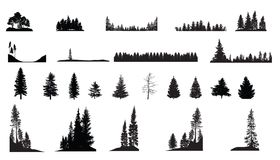 Pine Trees. A collection of various pine trees, great for scenics and Christmas work stock illustration