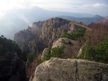 Pine-Trees on The Demerdzhi Mountain Rocks. Crimea, Ukraine. Chatyrdag Mountain on the cloudy horizon Stock Photography