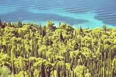 Pine trees and sea, peninsula Orebic, Croatia. Summer vacation. Travel destination. Seasonal natural scene royalty free stock photo