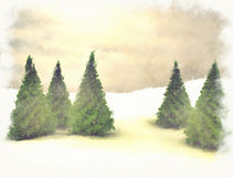 Pine trees and snow Royalty Free Stock Image