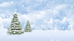 Pine Trees on a Snowy Winter Day. This video Features two pine trees against a blue sky with moving clouds and falling snow in a loop stock video