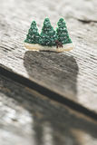 Pine trees during the winter. Miniature figures of pine trees during the winter Stock Photography