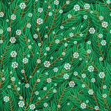 Pine twigs and snowflakes seamless pattern.  Royalty Free Stock Photo