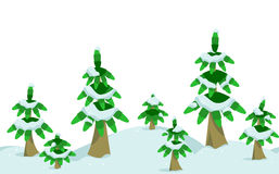 Pine winter forest in horizontal seamless border Royalty Free Stock Image