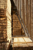 Pine wood. Piles of pine wood planks at a sawmill royalty free stock images