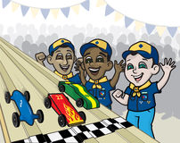 Pine Wood Derby Race. An illustration of boyscouts racing pinewood derby cars Stock Photos