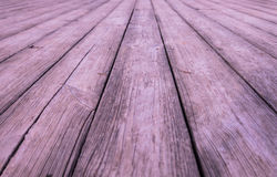 Pine wood floor. Closeup view of exterior pine wood floor with natural texture in perspective view, selective focus stock photos