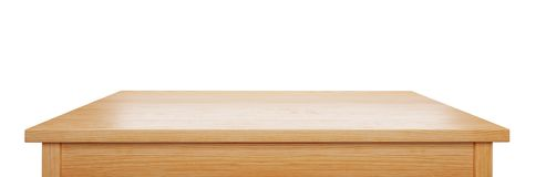 Pine wood tabletop isolated on white background, 3d rendering. Pine wood tabletop isolated on white background, useful for display or product montage, 3d royalty free stock image