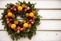 Orange Fruit and Chrysanthamum Wreath Royalty Free Stock Photo