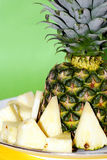 Pineapple. Sliced pineapple on a plate Stock Photography