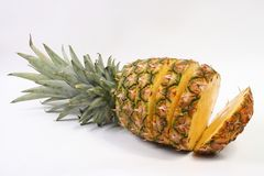 PINEAPPLE. Slices of pineapple on white background Royalty Free Stock Photo