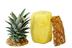 Pineapple. Whole pineapple peeled with top on side Stock Photo