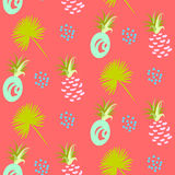Pineapple abstract exotic coral vector seamless background. Textile pattern. Royalty Free Stock Photos