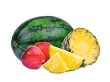 Pineapple, apple and watermelon isolated on white Stock Image