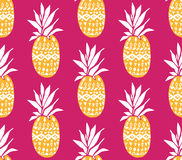 Pineapple background with hand drawn yellow fruits at pink background. Seamless vector pattern Stock Photos
