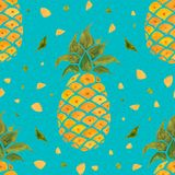 Pineapple background. Watercolor Seamless pattern. Royalty Free Stock Photos