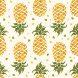 Pineapple background. Watercolor Seamless pattern. Stock Photos