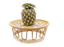Pineapple on bamboo tray  on white back ground Royalty Free Stock Image