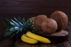 Pineapple,banana and coconut Stock Image