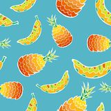 Seamless pattern with decorative ornate tropical fruits. Royalty Free Stock Photo