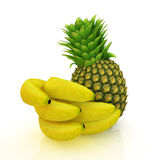 Pineapple and bananas Royalty Free Stock Images