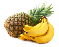 Pineapple and bananas. Ripe pineapple and bananas on white background Stock Photography