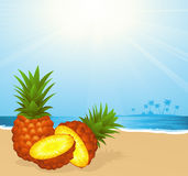 Pineapple on the beach Royalty Free Stock Photos