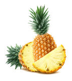 Pineapple behind and pieces on white background stock images