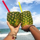 Piña cheers! stock photos