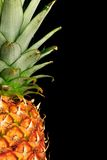 Pineapple on black. Detail of a pineapple against a black background with copy space to right Stock Photo
