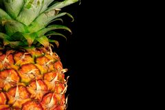 Pineapple on black. Detail of a pineapple against a black background with copy space to right Royalty Free Stock Photo