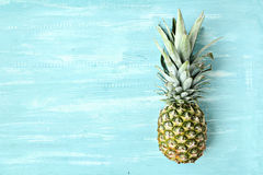 Pineapple on a blue pastel background stock images