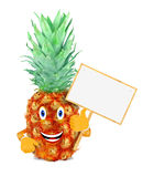 Pineapple with board Royalty Free Stock Image
