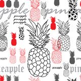 Pineapple Breakfast-Fruit Delight. Seamless Repeat Pattern Background in Purple Yellow Black and White. Pineapple Breakfast-Fruit Delight. Seamless Repeat vector illustration