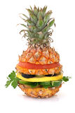 Pineapple burger. Fresh and ripe vegetarian Pineapple burger over white Royalty Free Stock Photography